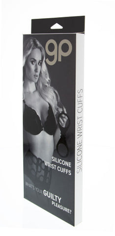 Guilty Pleasure - Silicone Wrist Cuffs - Black - Red Rose Toys