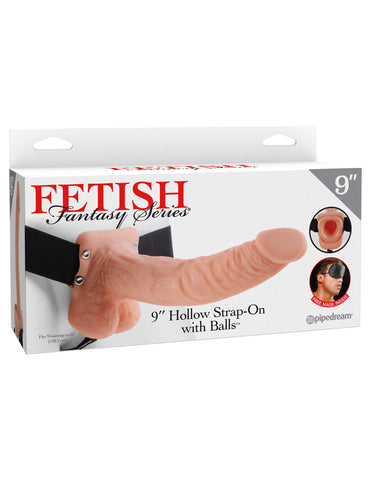 "Fetish Fantasy Series 9"" Hollow Strap-On with Balls Flesh - Red Rose Toys"