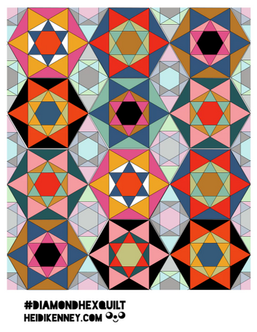 Diamond Hex Pattern Pieces PDF (digital download)