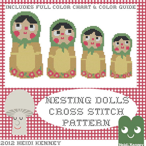 Nesting Dolls cross stitch pattern PDF (digital download)
