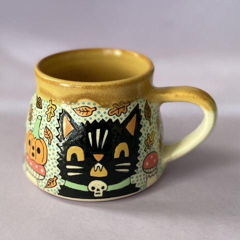 Ceramic Wheel Thrown Halloween Mug 12oz