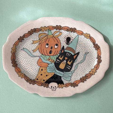 Ceramic Hand Built Halloween  Platter 10x7.5""