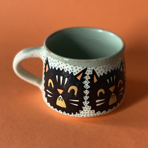 Ceramic Wheel Thrown Halloween Cat Mug 10oz