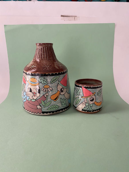 Ceramic Wheel Thrown Happy Animals Set 21oz & 3oz