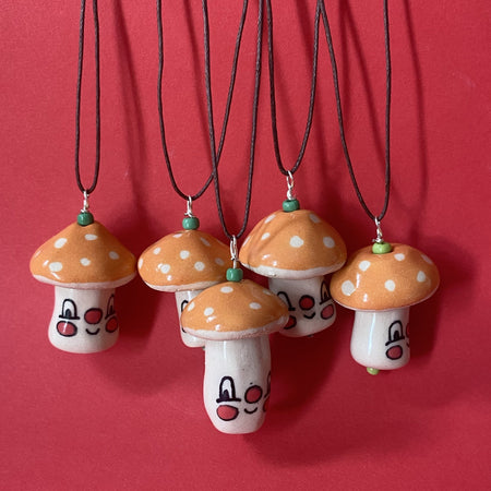 Ceramic Hand-built Mushroom Necklace