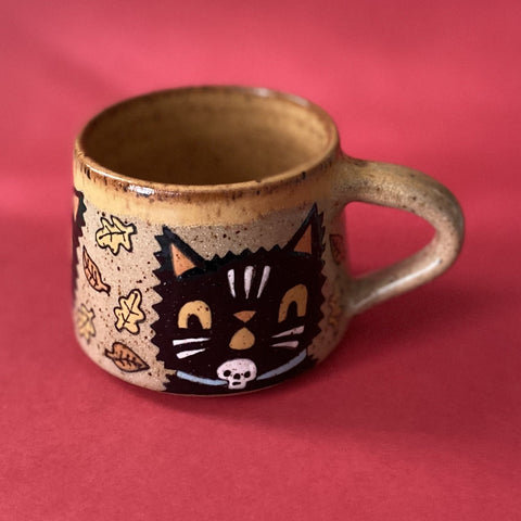 Ceramic Wheel Thrown Small Halloween Cat Mug 8oz