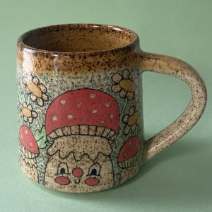 Ceramic Wheel Thrown Flower mushroom Mug 11oz