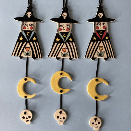 Ceramic Hand-built Witch Wall Hanging