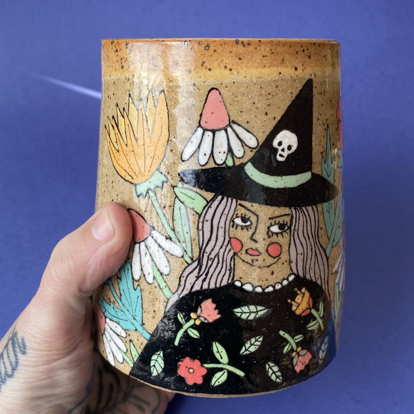 Ceramic Wheel Thrown Witch Jar 20oz