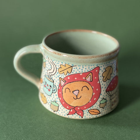 Ceramic Wheel Thrown Cozy Fall Cat Mug 12oz