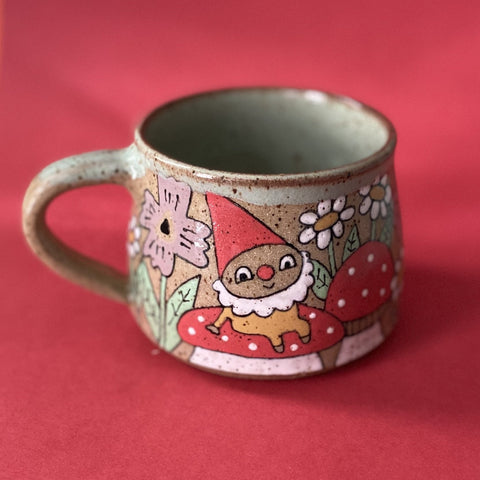Ceramic Wheel Thrown Gnome Mug 12oz