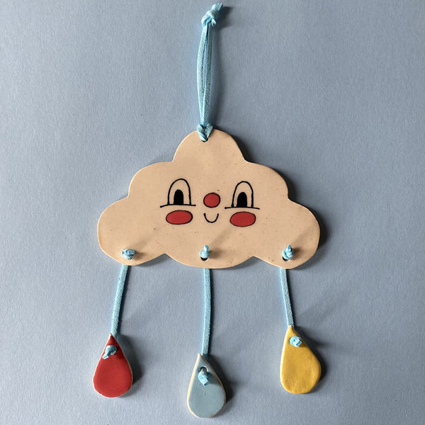 Ceramic Hand-built Happy Cloud Wall Hanging
