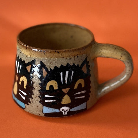 Ceramic Wheel Thrown Small Halloween Mug 8oz