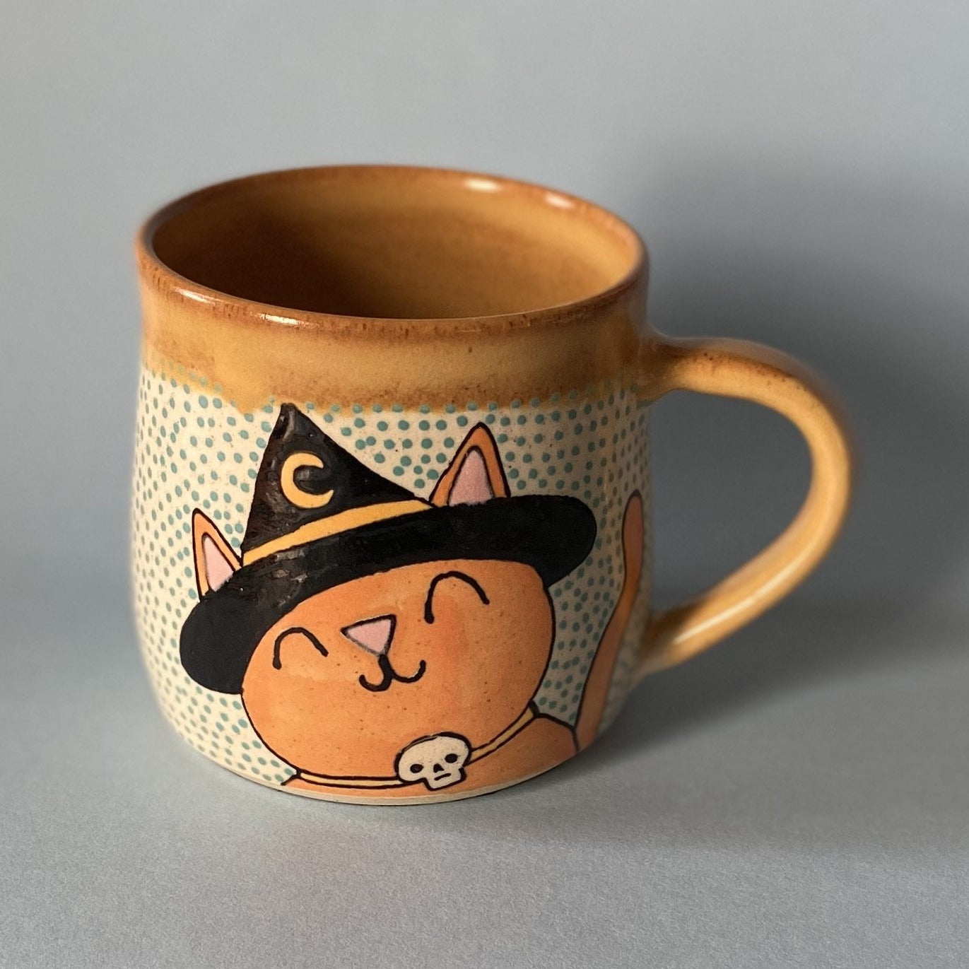 Ceramic Wheel Thrown Halloween Cat Mug 14oz
