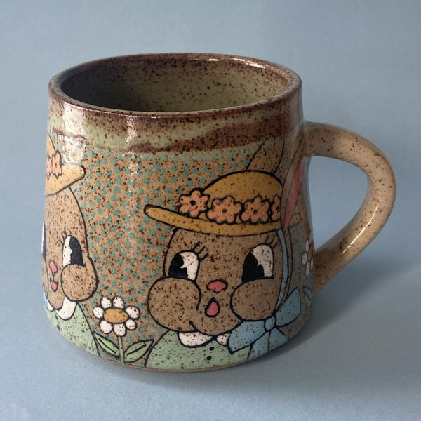 Ceramic Wheel Thrown Easter Bunny Mug 13oz