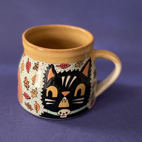 Ceramic Wheel Thrown Halloween Cat Mug 15oz