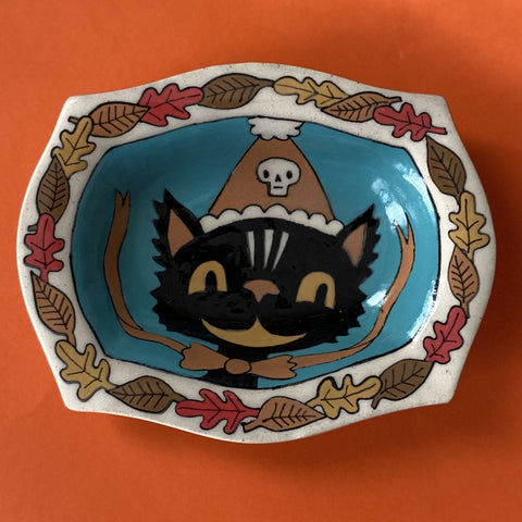 Ceramic Hand Built Halloween Cat Dish 5x6""
