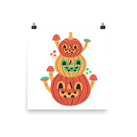 Jack O' Lantern Mushrooms Print 10x10""