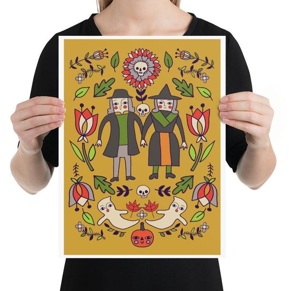 Folk Witches Print 12X16""