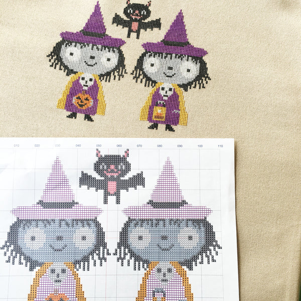 Twin Witch cross stitch pattern PDF (digital download)