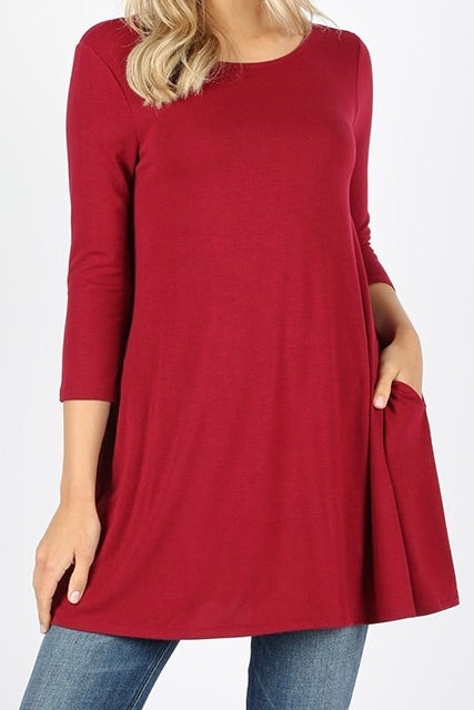 3/4 Sleeve Pocket Tunic Cabernet