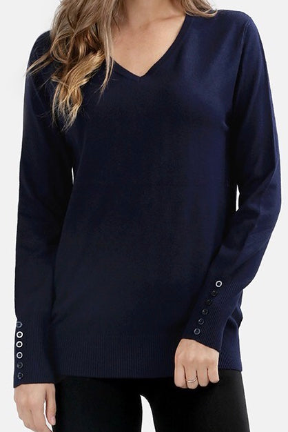 V Neck Button Detail Sweater Navy