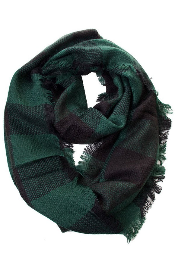 Infinity Scarf Green Plaid