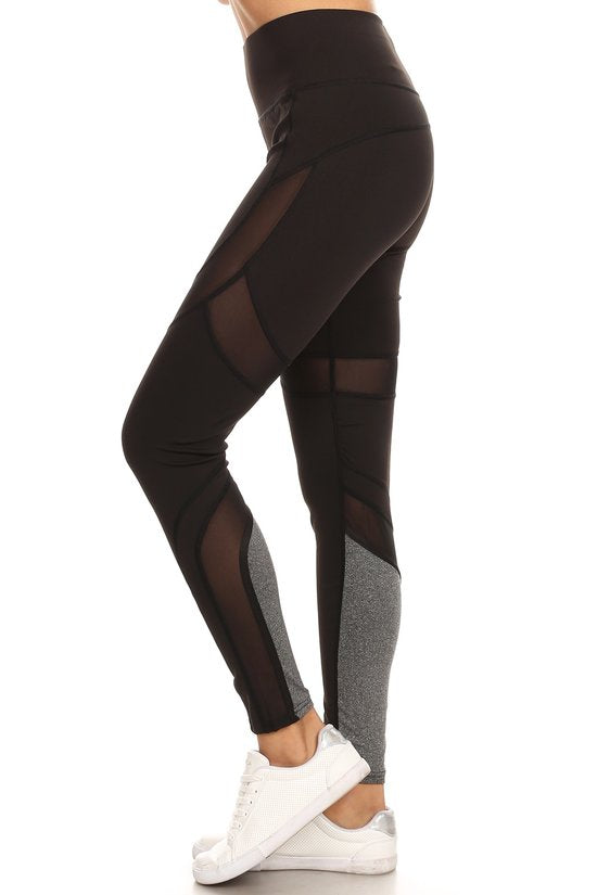 Mesh Panel Workout Pant - Black