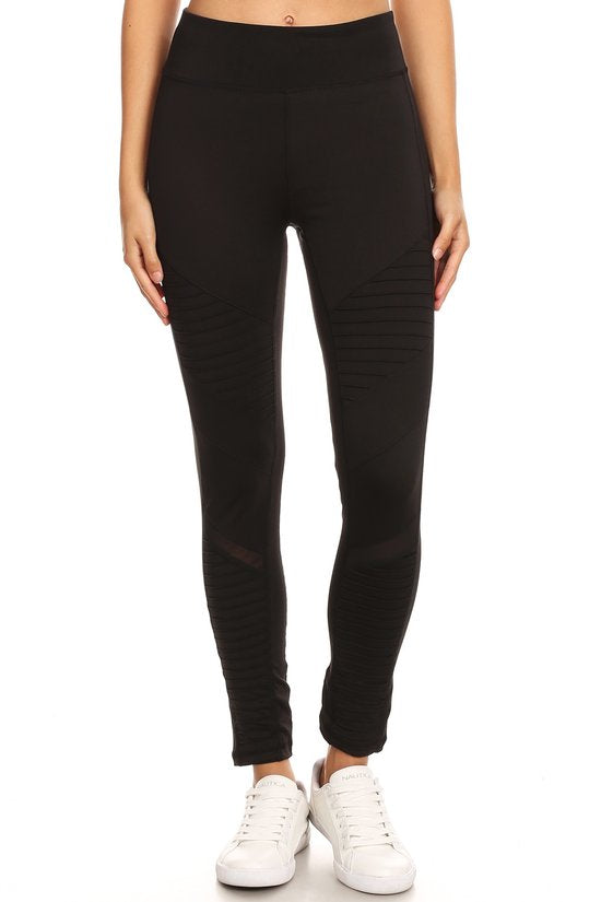 Mesh Detail Pleated Panel Workout Pant