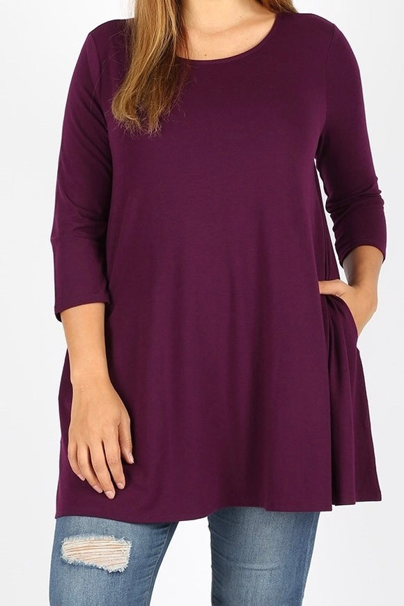 3/4 Sleeve Pocket Tunic Plus Dark Plum