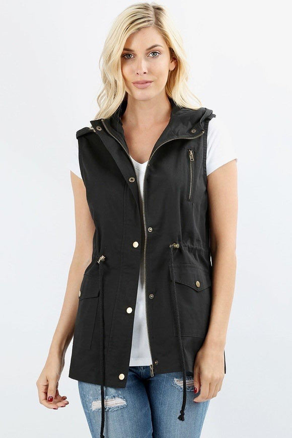 Sleeveless Hooded Vest Plus Black