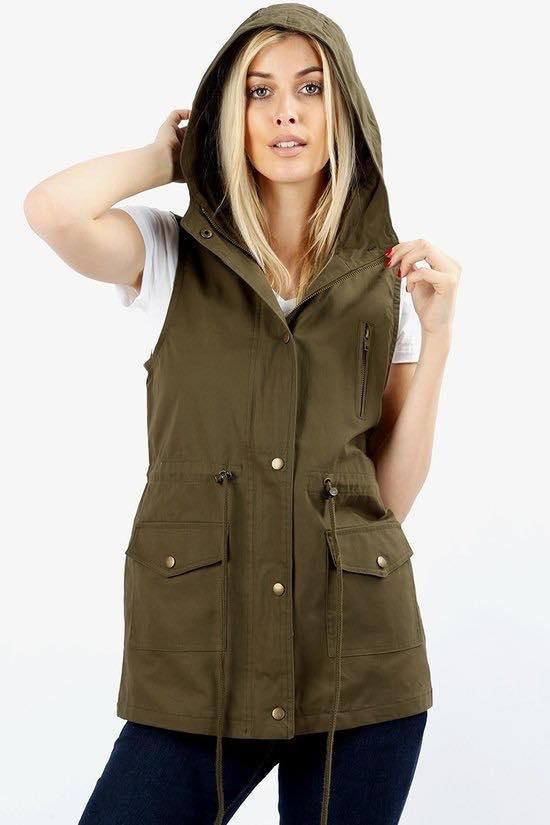 Sleeveless Hooded Vest Plus Dark Olive