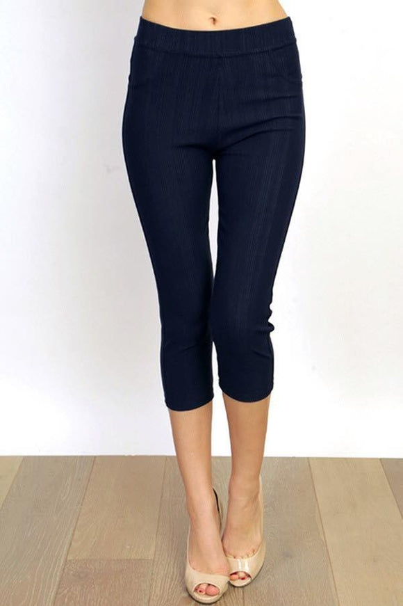 Navy Jegging Capri Plus