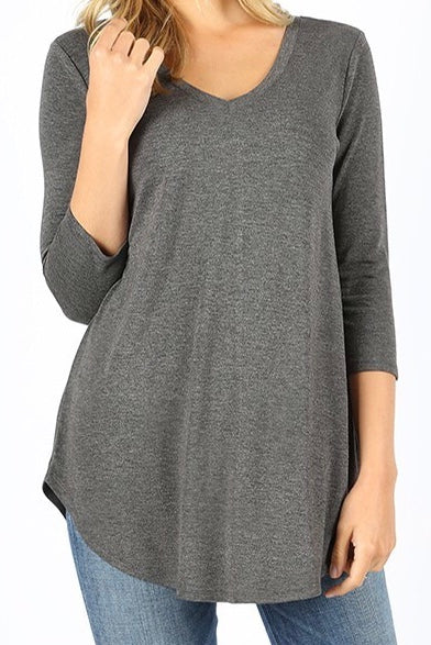 3/4 Sleeve V Neck Tunic Plus Charcoal