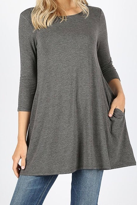 3/4 Sleeve Pocket Tunic Charcoal