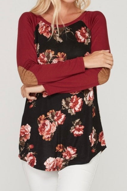 Black & Burgundy Floral Tunic Plus