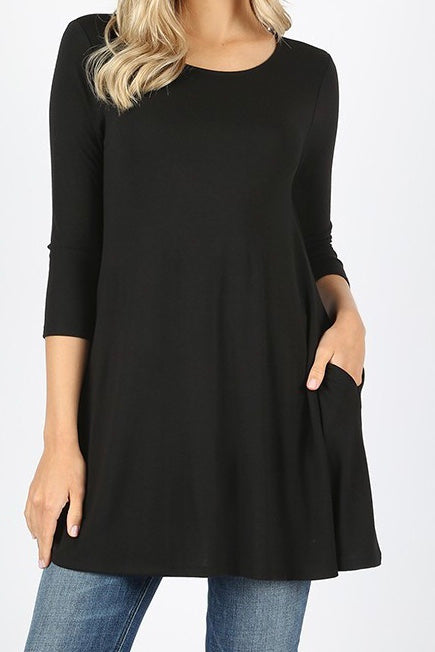 3/4 Sleeve Pocket Tunic Black