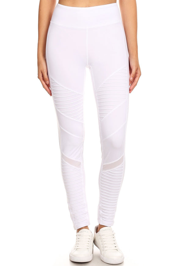 Mesh Panel Pleated Panel Workout Pant White