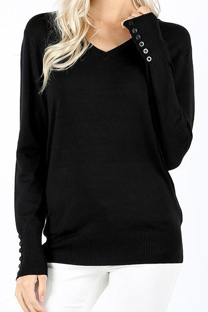 V Neck Button Detail Sweater Black