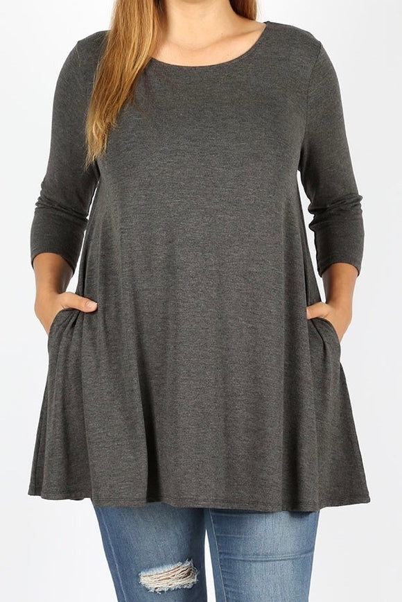 3/4 Sleeve Pocket Tunic Plus Charcoal