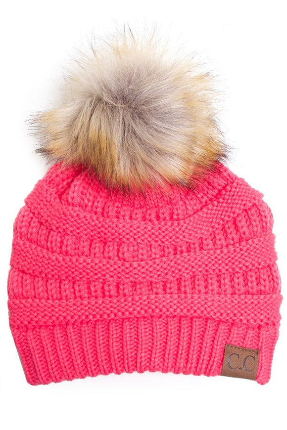 Beanie With Pom Pom Hot Pink