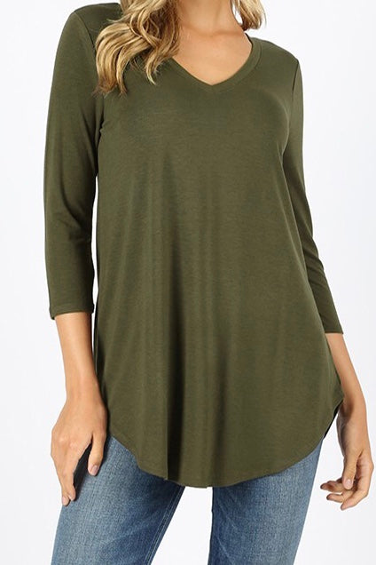 3/4 Sleeve V Neck Tunic Plus Dark Olive