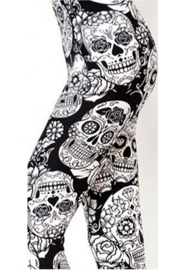 Black & White Sugar Skulls Kids L/XL