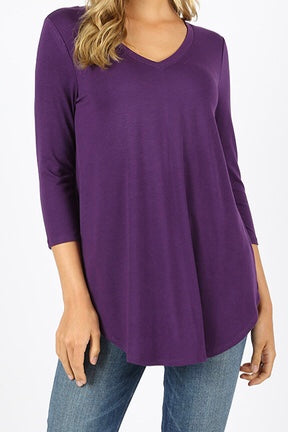 3/4 Sleeve V Neck Tunic Dark Purple