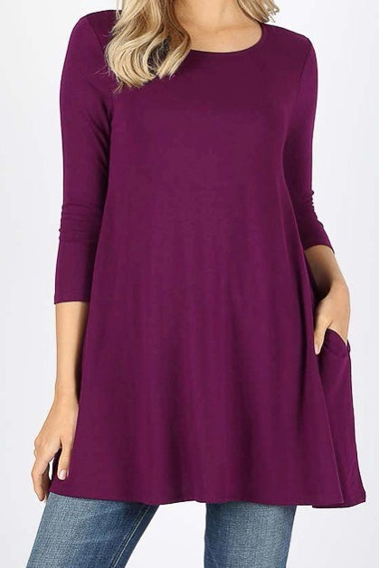 3/4 Sleeve Pocket Tunic Dark Plum