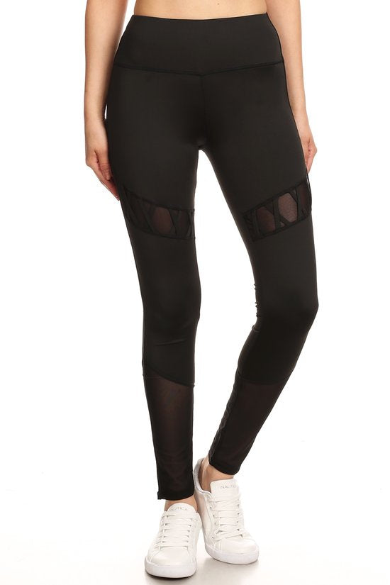 Criss Cross Mesh Panel Workout Pant