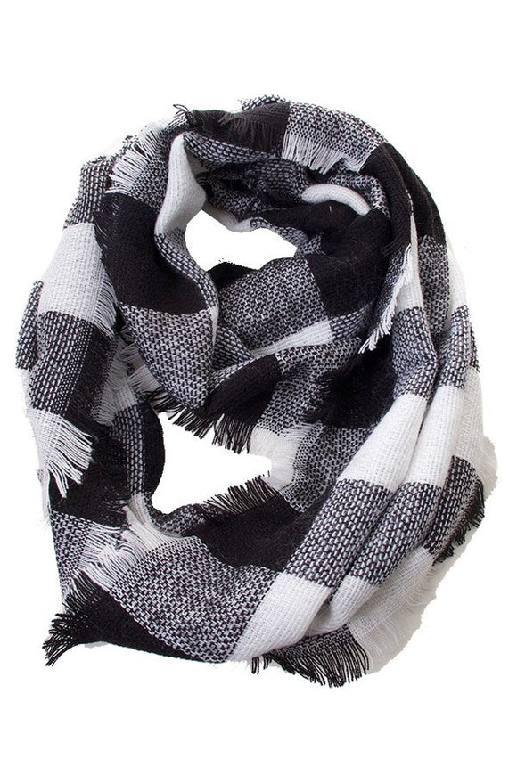 Infinity Scarf Black Plaid