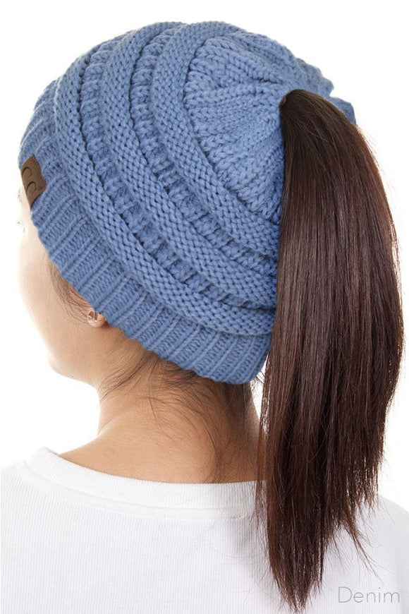 Messy Bun Beanie Denim Blue