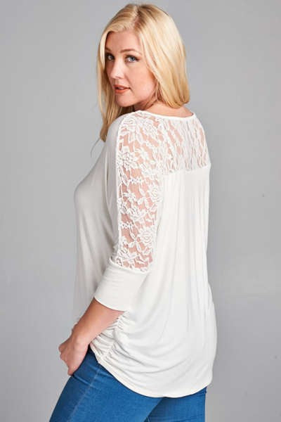 3/4 Sleeve Lace Detail Tunic Plus Ivory