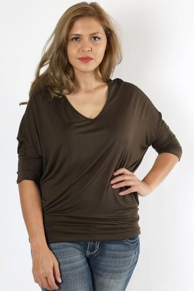 3/4 Sleeve Dolman Plus Dark Olive